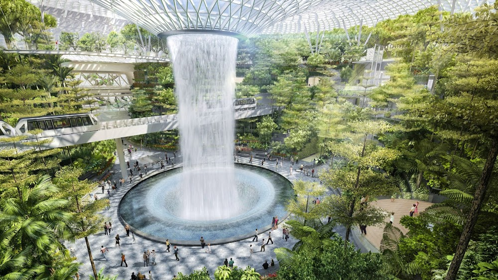 Domed park with central waterfall on Mars by Safdie Architects - a design for Jewel Changi Airport in Singapore