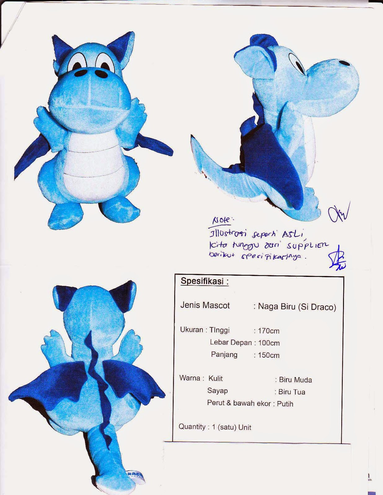 gambar desain draco naga biru badut medan