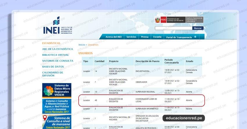 INEI CONVOCATORIA AGOSTO 2021: Supervisor Regional - Coordinador de Local - Evaluación Docente - MINEDU (Inscripciones hasta el 15 Agosto) Nivel Nacional - www.inei.gob.pe