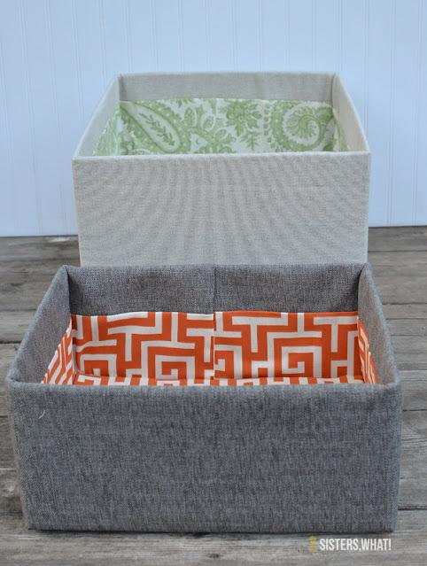 cardboard box fabric bin