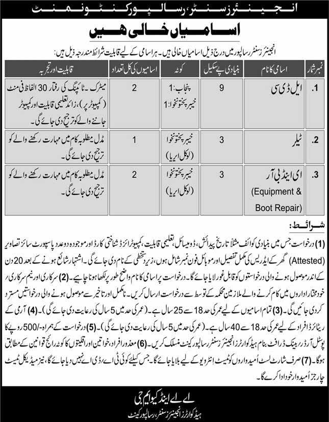 Pak Army Engineering Center Risalpur Cantt Latest Jobs May 2020