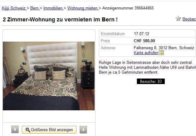 wohnungsbetrugblogspotcom 2 ZimmerWohnung zu vermieten im Bern  Falkenweg 8 3012 Bern