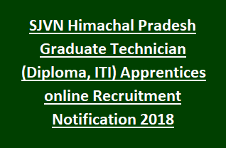 SJVN Himachal Pradesh Graduate Technician (Diploma, ITI) Apprentices online Recruitment Notification 2018