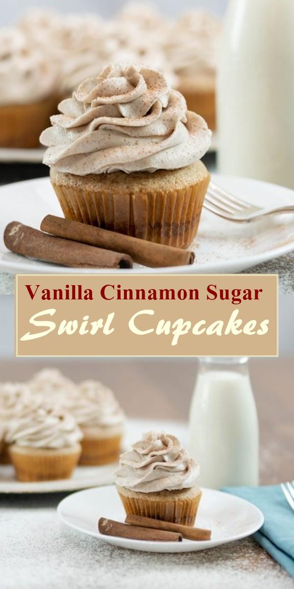 Vanilla Cinnamon Sugar Swirl Cupcakes #cupcakerecipes