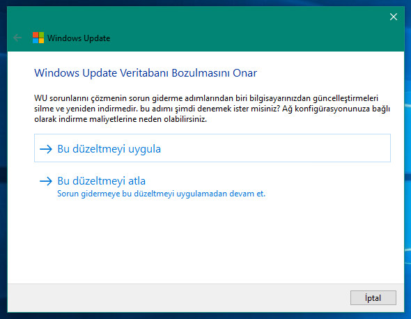 windows 10 güncelleme hatası çözümü