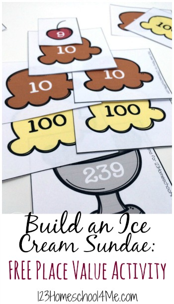 FREE Place Value Ice Cream Sundae Activity!! This is such a fun, hands on learning activity to help kids visualize place value. One of many math games for kindergarten, first grade and second grade kids to make learning fun.