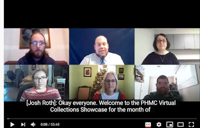 "Zoom screen with 2 rows of 3 people. Caption reads ""Okay everyone, welcome to the PHMC Virtual Collections Showcase for the month of"""