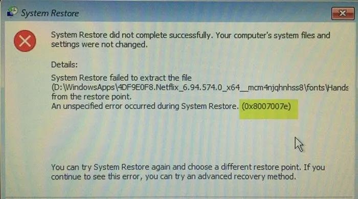 Khắc phục lỗi Khôi phục Hệ thống 0x8007007e trên Windows 10