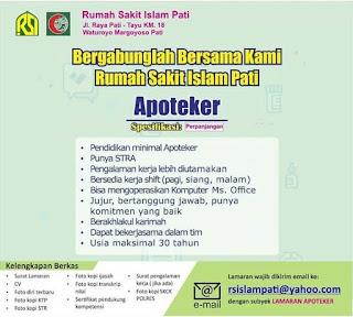 Info Lowongan Kerja Apoteker Rumah Sakit Islam Pati
