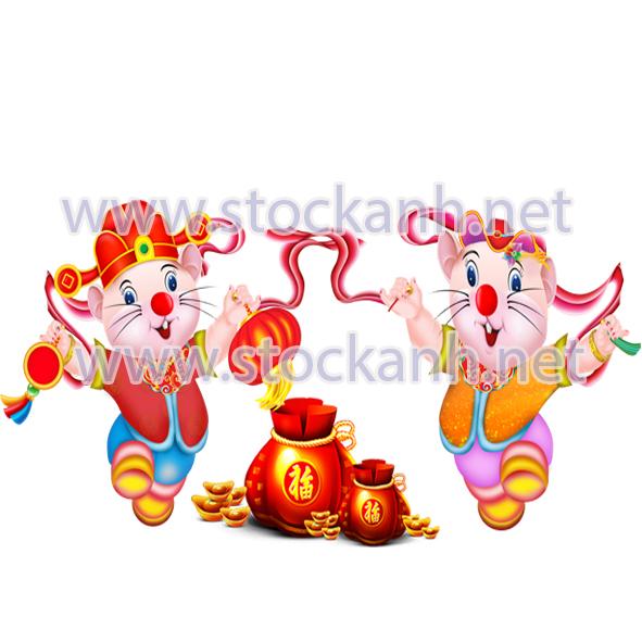 Cặp chuột vàng in lịch tết