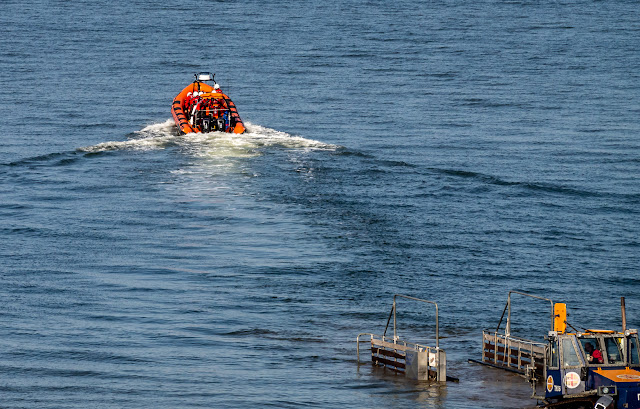 Photo of the rescue boat heading out onto the Solway Firth