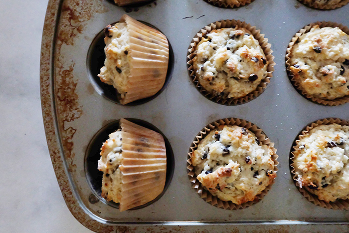 tipped muffins in pan