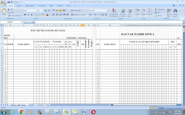 Format analisis ulangan harian dengan excel