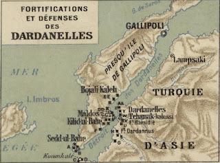 Une carte des Dardanelles de 1915