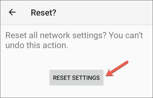 """انقر على """"إعادة تعيين الإعدادات"""" لبدء عملية إعادة تعيين الشبكة."""