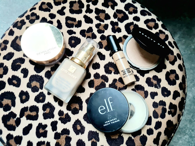 Luminous skin with Estee Lauder Doublewear, Elf Luminous Poreless Putty Primer, Beauty Pie One Powder Wonder, Revolution Hydra Matte Setting Powderand Mac Pro Longwear Concealer