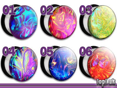 Alien Skin Textured Faux Dichroic Plugs Gauges