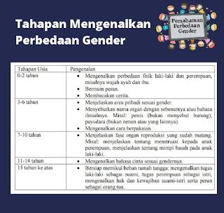 tahapan perbedaan gender sesuai usia