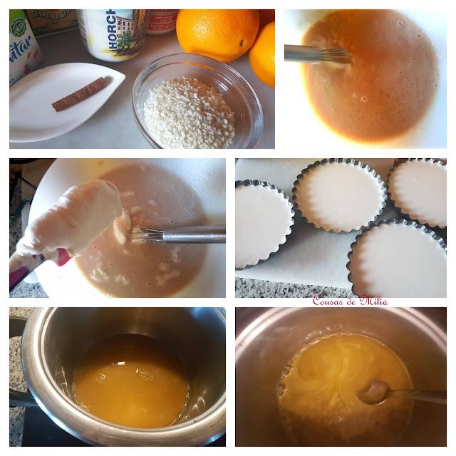 Mousse de arroz con horchata y crema de naranja