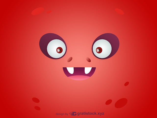 Free Download PSD Mockup OF Funny Eyes Red Cartoon Monsters Cards.