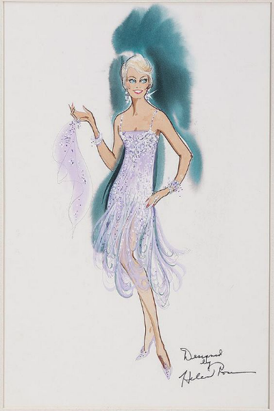 Costume Designer Helen Rose Sketch for Doris Day in 1955 Film Love Me or Leave Me