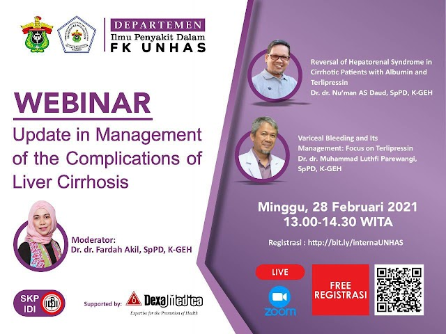 "Gratis SKP IDI WEBINAR:   *""Update in Management of the Complications of Liver Cirrhosis""*"