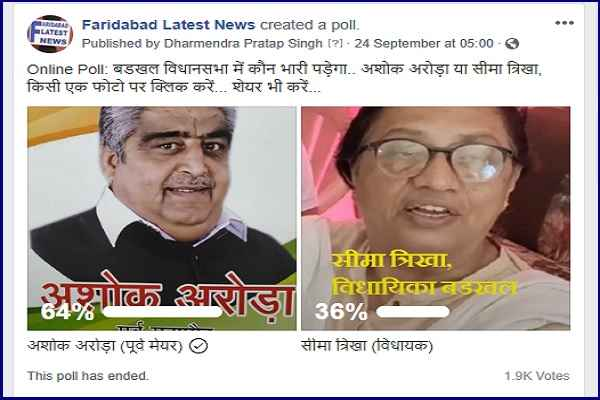 badkhal-mla-seema-trikha-lost-online-will-against-ashok-arora-mayor
