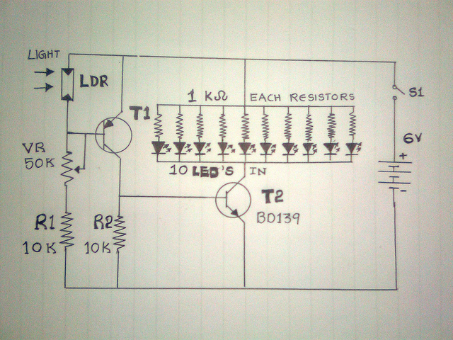 How to make emergency light with a simple 6v circuit at home circuit of a automatic simple emergency light using led and ldr ccuart Images