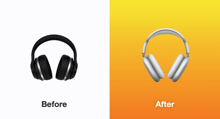 iOS 14.5 Headphone emoji (Before And After)