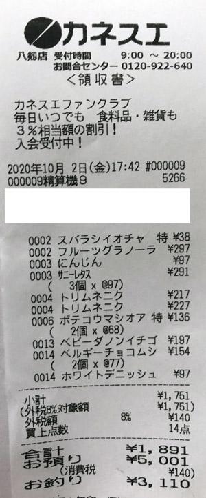 カネスエ 八剱店 2020/10/2 のレシート