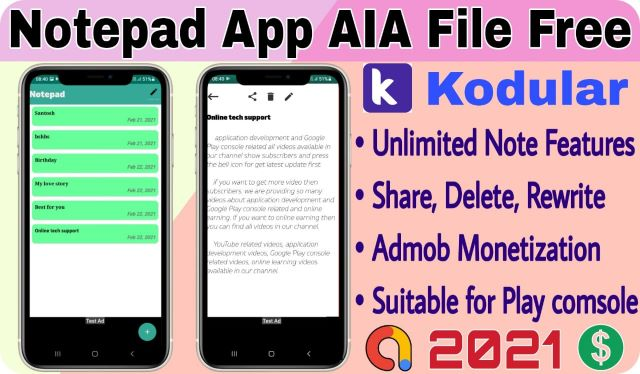 Notebook app AIA file free 2021