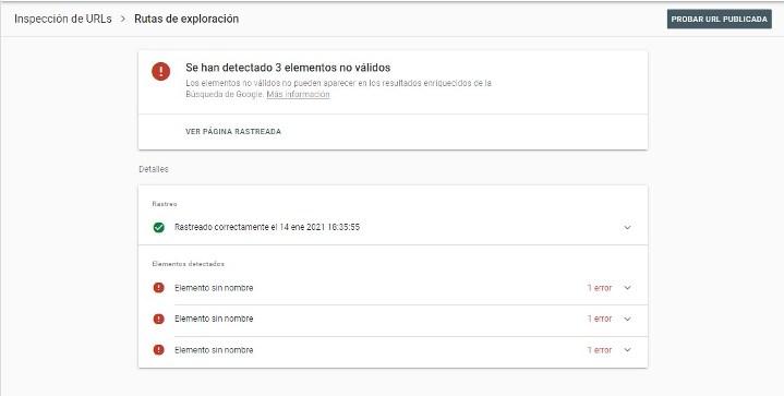 Error de rastreo en search console - Campo ID no valido