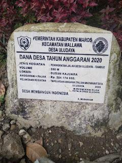 Pekerjaan Peningkatan Jalan Desa ULUDAYA Mallawa Maros,di Duga tidak Sesuai RAB