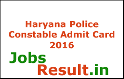 Haryana Police Constable Admit Card 2016