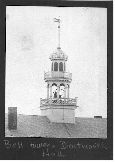 View of the Dartmouth Hall Belfry with bell rope, circa 1880