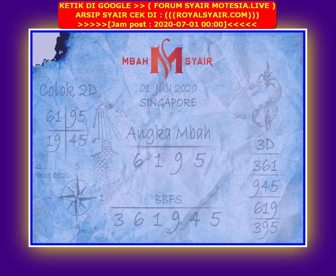 Kode syair Singapore Rabu 1 Juli 2020 234