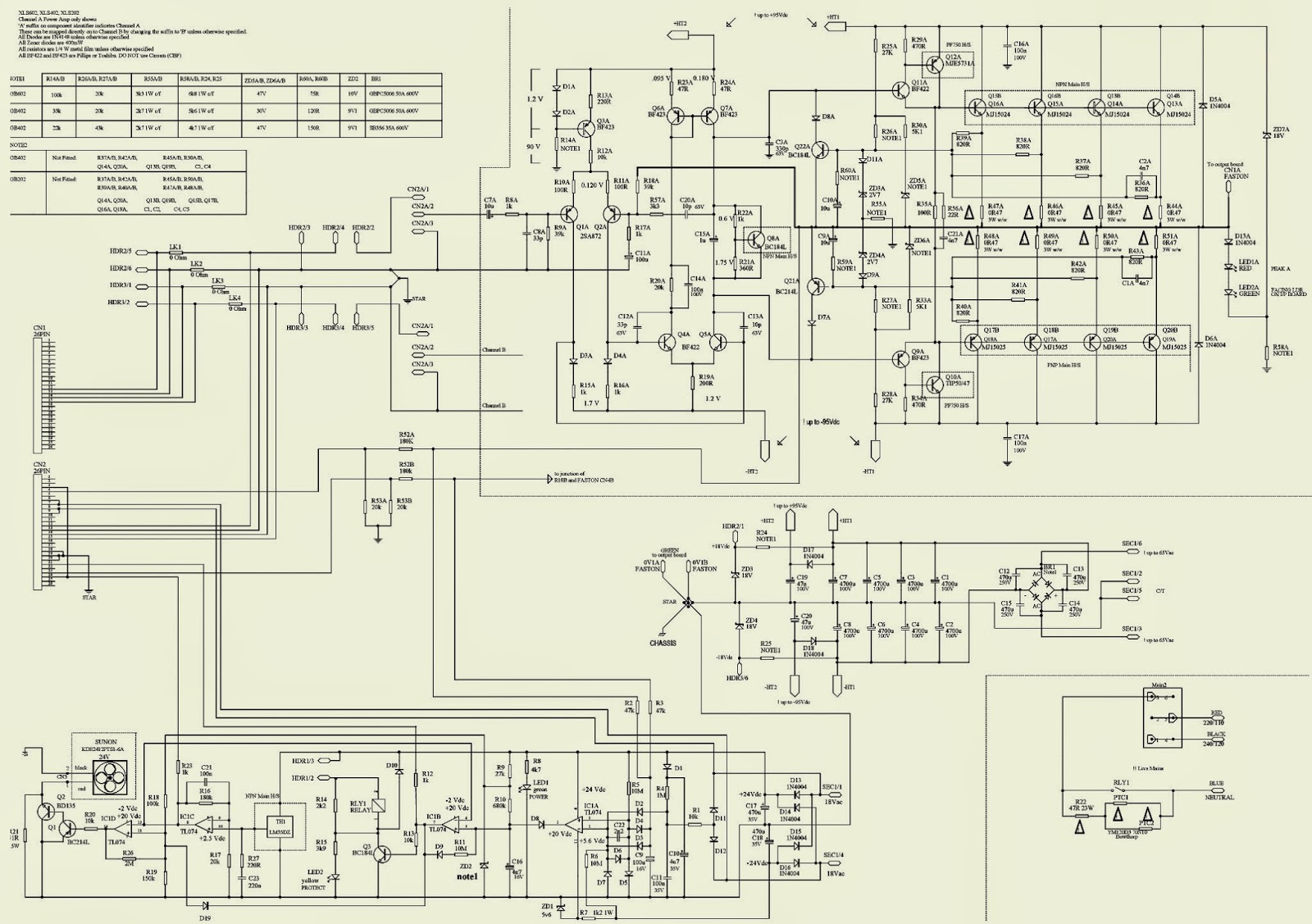 crown xls602 xls402 xls202 amp schematic circuit diagram  [ 1600 x 1127 Pixel ]