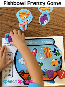 Roll the dice and match the fish. Open-ended fun for your ocean theme centers. From Smiley Shark Book Companion by Speech Sprouts. Read 14 more great ideas for shark week for preschool speech therapy