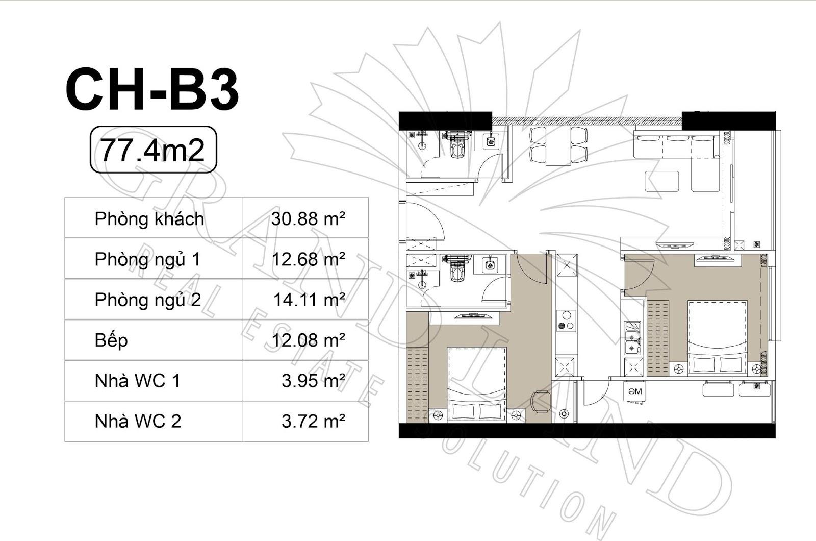 Thiết kế căn hộ 2PN 76m2 tại chung cư DLC Complex