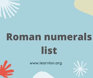 Roman numbers 1 to 1000 - Roman numerals list