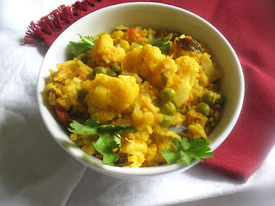 Red Lentil and Cauliflower Tomato Pulao