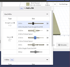 Easel CNC Software Bit Selection