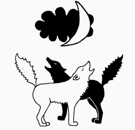 Illusztráció gyerekvershez, fekete-fehér, tetoválásra emlékeztető rajzon két kojot totemállat csaholja a vadnyugati prérin az indián főnök vigvamját.