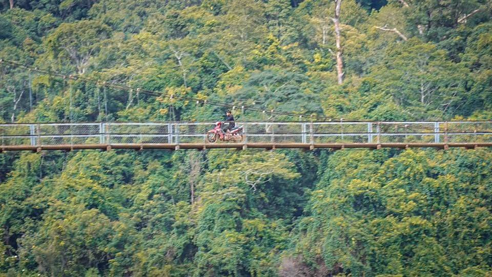 Ở Măng Đen có các cây cầu dây cáp băng qua suối.