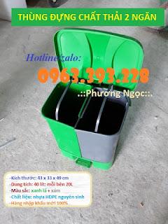 Thùng rác 2 ngăn đạp chân, thùng rác nhựa 2 ngăn 40L, thùng rác đạp chân Thung-rac-2-ngan-phan-loai-rac-tai-nguon