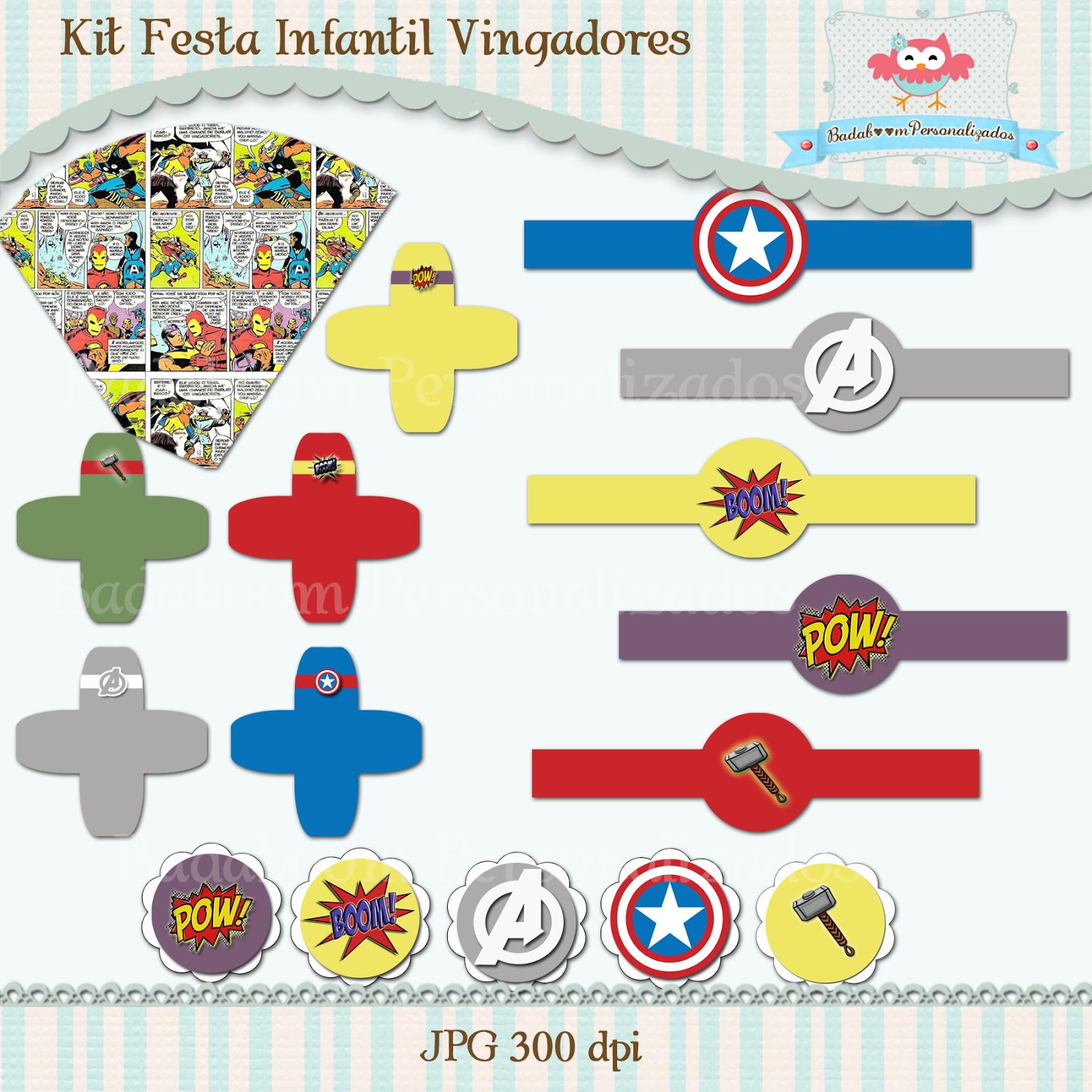 Badaboom Personalizados Kit Festa Infantil Vingadores