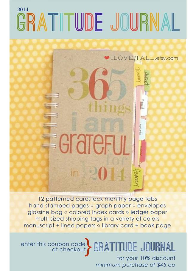 Gratitude Journal Coupon Code from iloveitall.etsy.com