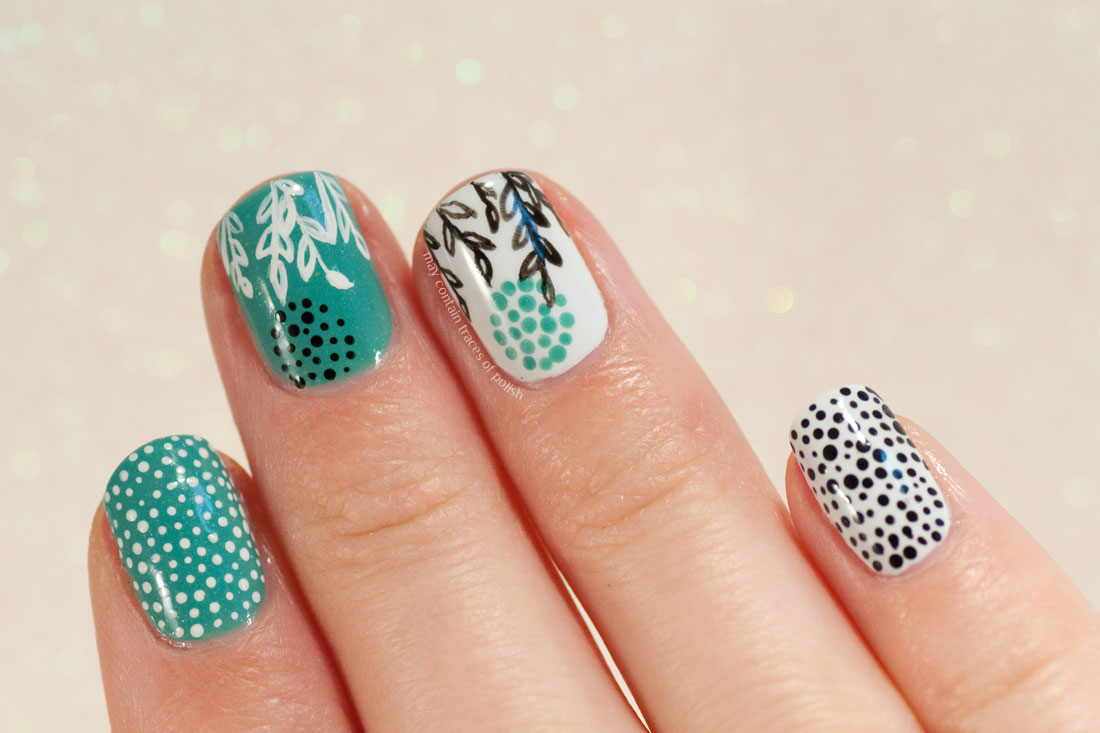 Green and White Dotticure with Abstract Leaves - Essie Naughty Nautical