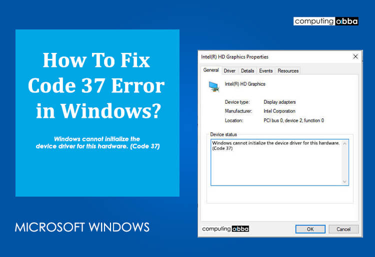 Windows cannot initialize the device driver for this hardware. (Code 37)