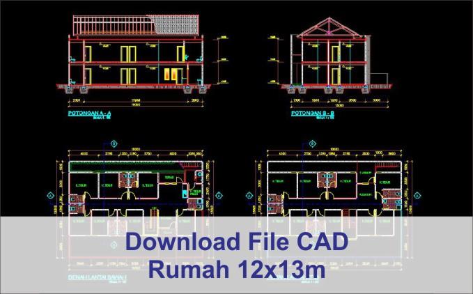 download rumah 12x13 File AutoCad